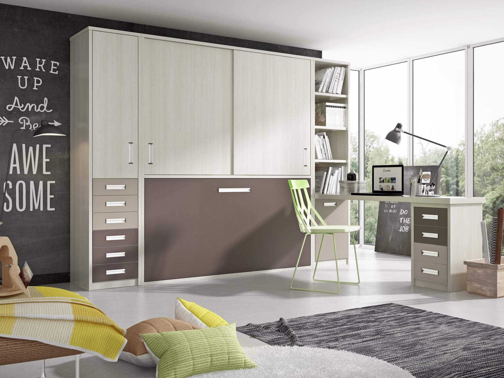 Cama Convertible Horizontal Tera. Dormitorio Juvenil con Cama Horizontal Muebles Díaz