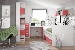 Dormitorio Juvenil Luna. Dormitorio Juvenil con Armario de Rincón Muebles Díaz