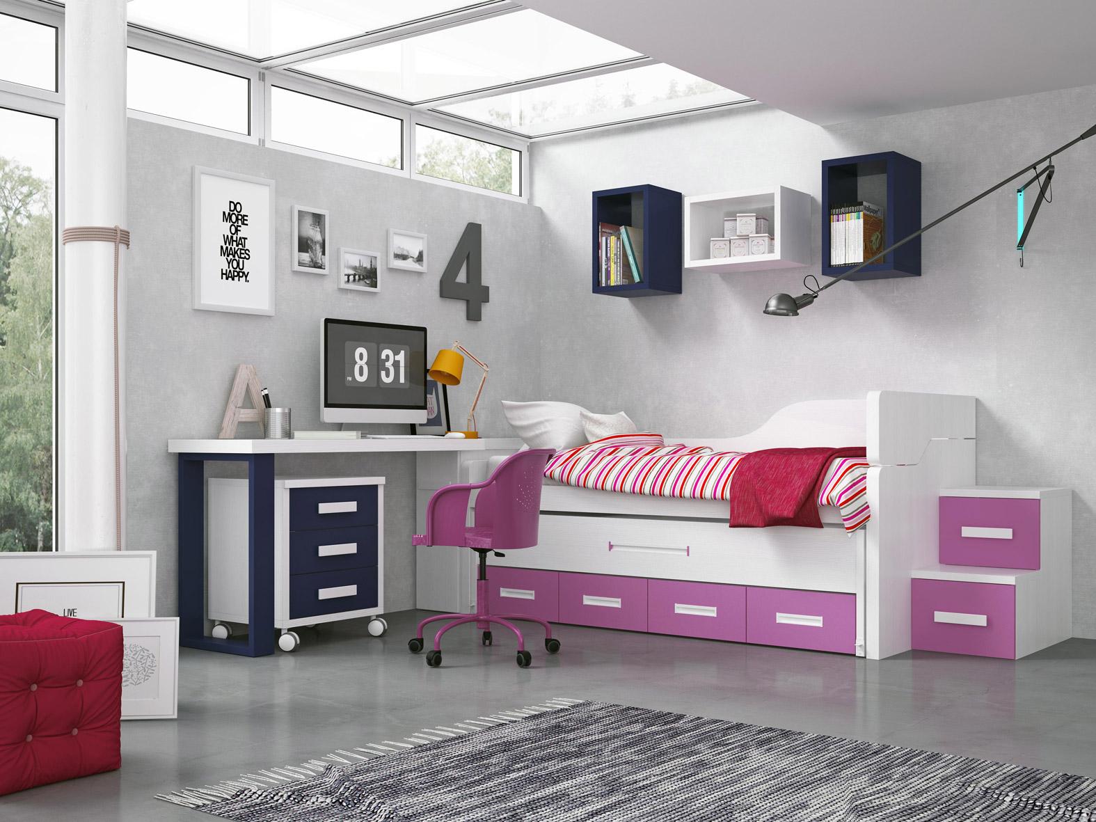 Dormitorio Juvenil Sicilia. Dormitorio Juvenil en Blanco Coordinado Rosa y Marino. Muebles Díaz