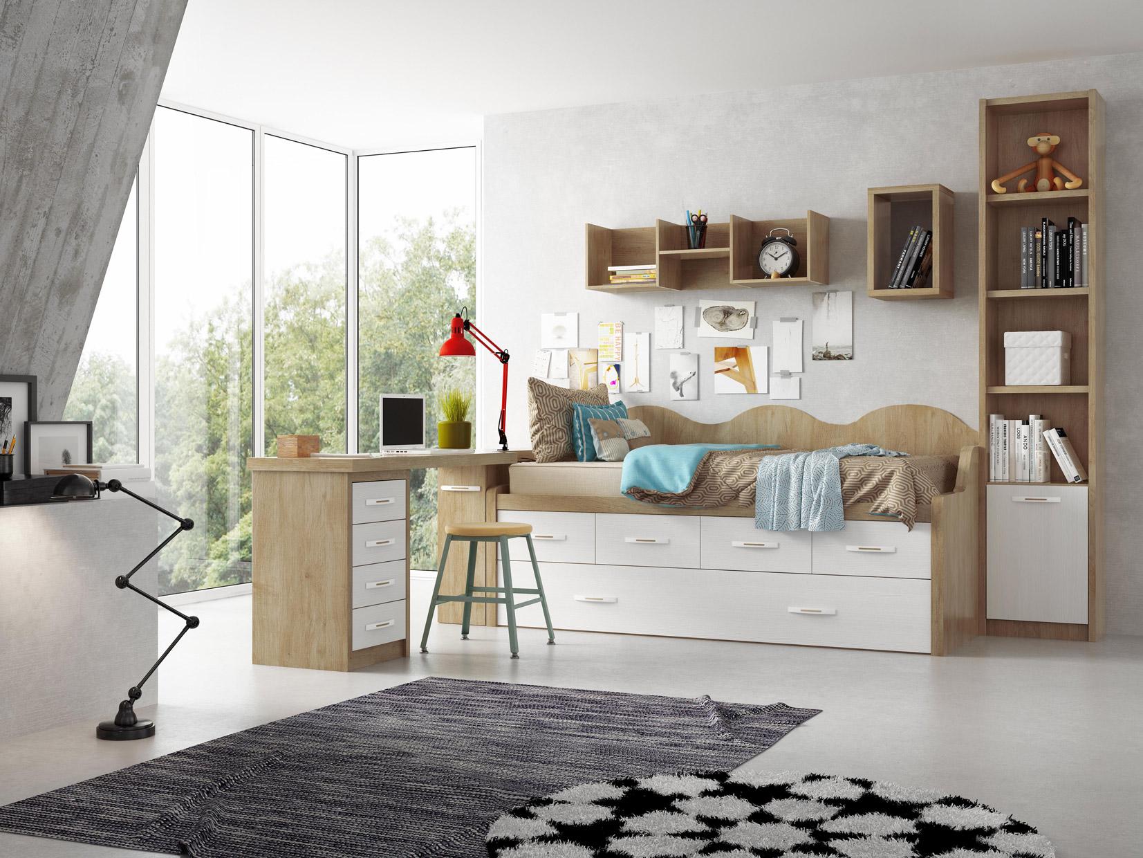 Dormitorio juvenil lacio muebles d azmuebles d az for Dormitorio juvenil estilo nordico