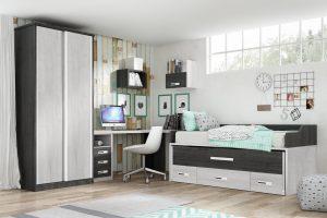 Dormitorio Juvenil Apulia. Dormitorio Juvenil con Armario de Puertas Corredera Muebles Díaz
