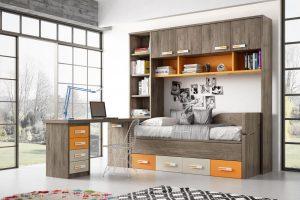 Dormitorio Juvenil Toscana. Dormitorio Juvenil con Puente. Muebles Díaz
