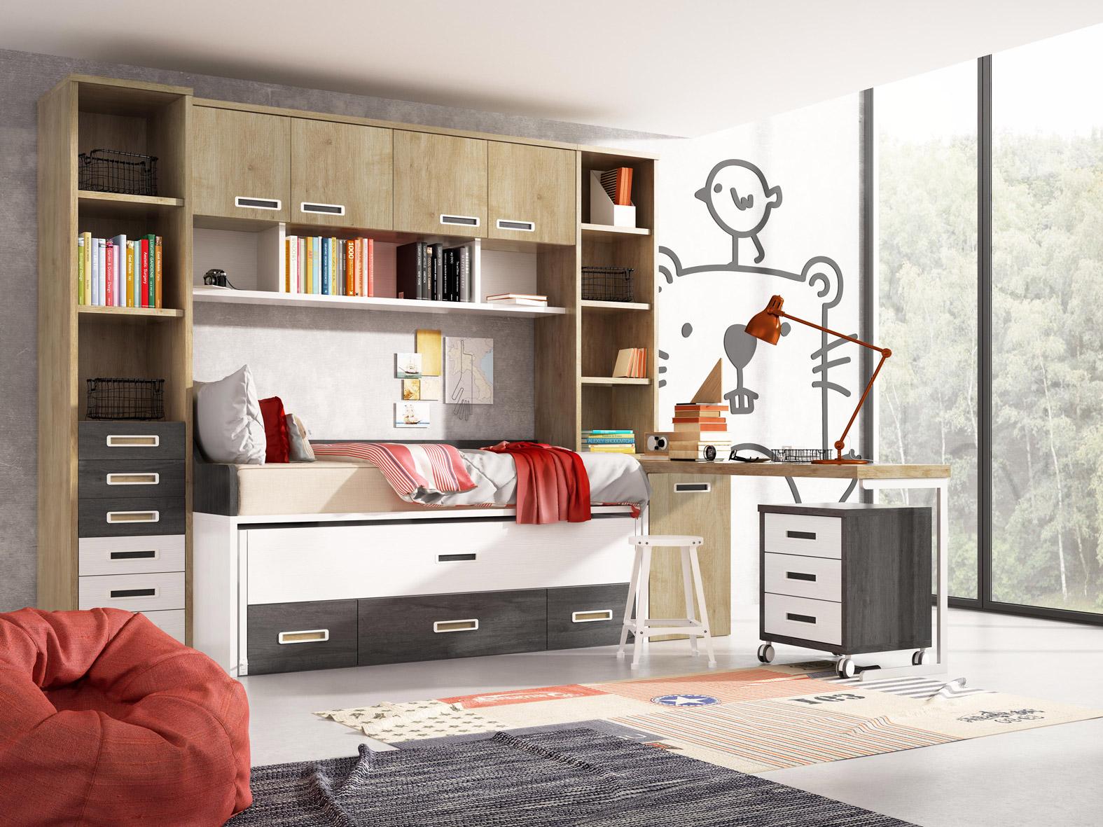 Dormitorio Juvenil Calabria. Dormitorio Juvenil con Puente. Muebles Díaz