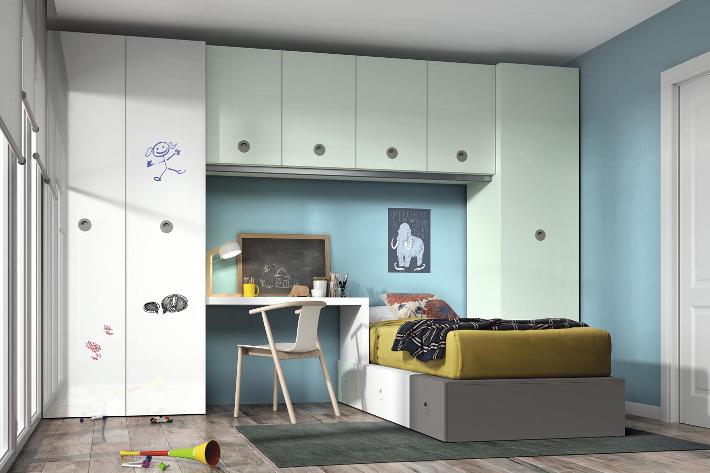 Dormitorio Juvenil Potugalete. Dormitorio Juvenil con Puente. Muebles Díaz