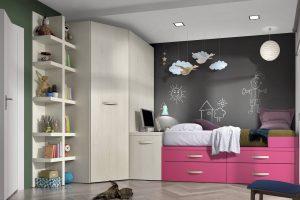 Dormitorio Juvenil Teleno. Dormitorio Juvenil con Armario Puertas Corredera. Muebles Díaz