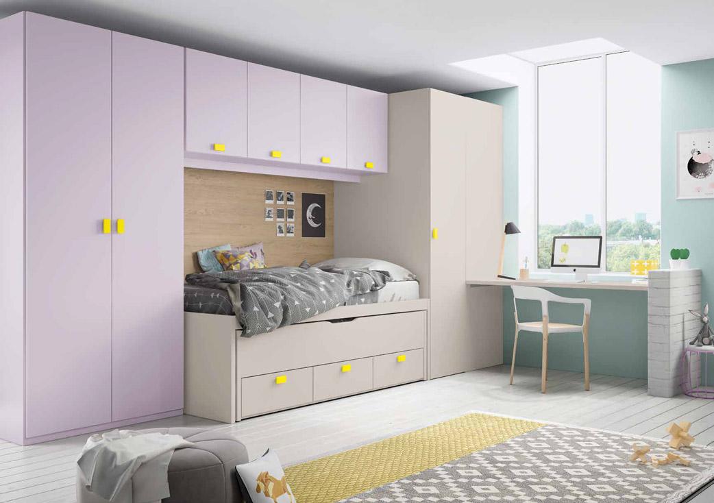 Dormitorio juvenil flores muebles d azmuebles d az for Dormitorios puente juveniles baratos
