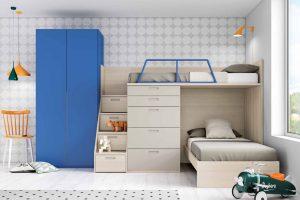 Litera en L Dueñas. Dormitorio Juvenil Litera Tren en L. Muebles Díaz