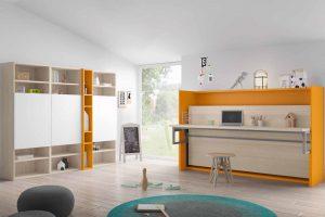 Dormitorio Convertible Losar. Cama Convertibe Horizontal con Mesa Estudio. Muebles Díaz