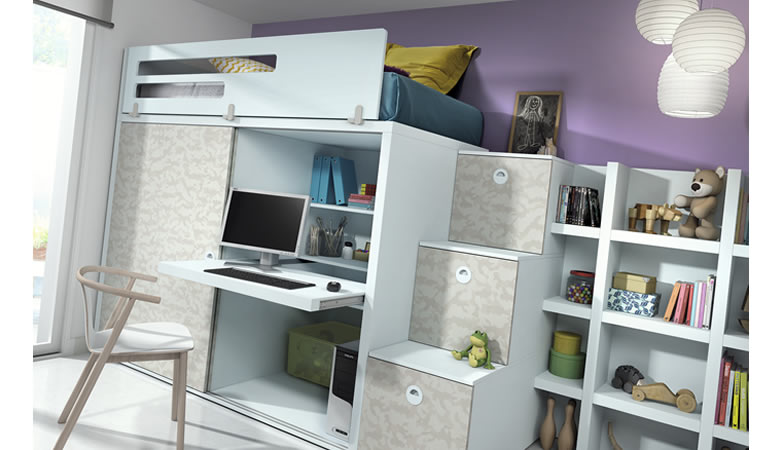 Cama alta con armario cheap cama alta con espacio debajo divido en armario y estudio genial la - Camas altas con armario debajo ...