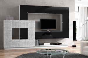 Salón Apilable Moderno Frentes Lacados Chucena. Mueble Salón Apilable Frentes lacados. Muebles Díaz