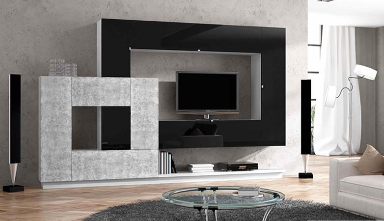 Sal n apilable moderno frentes lacados chucena muebles for Muebles de salon lacados