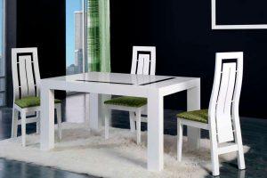 Mesa Moderna Fombe. Mesa con detalle Cristal Moderna. Muebles Díaz