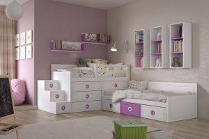 Juvenil Lacado Sejas. Dormitorio Juvenil Lacado Tirador Circulo Embutido. Muebles Díaz