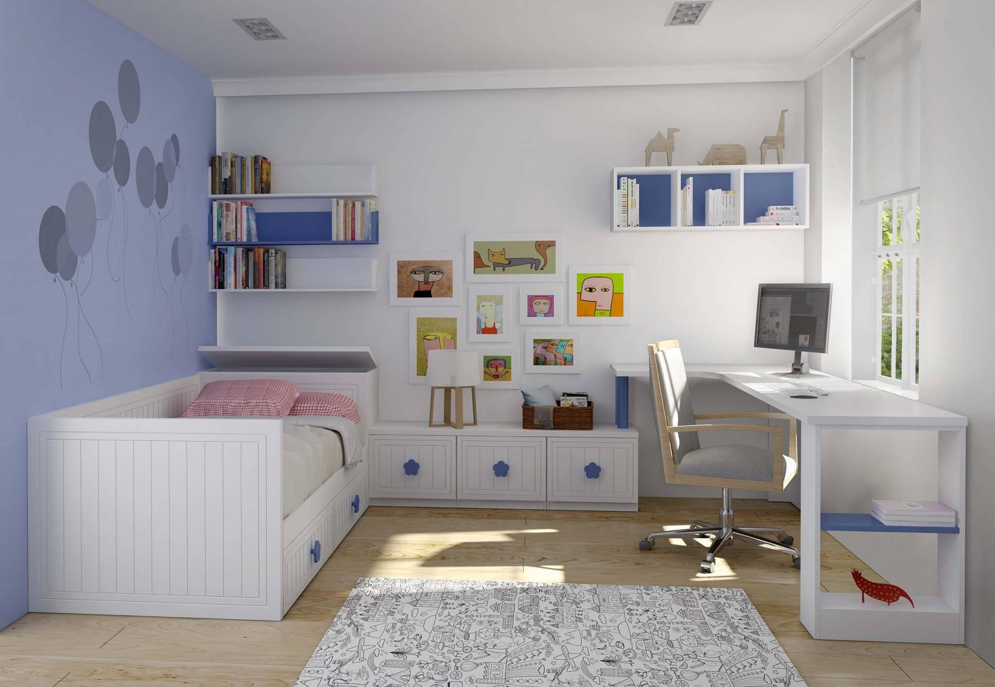 Dormitorio Infantil Sogo. Dormitorio Infantil Lacado con Tiradores Flor. Muebles Díaz