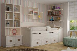 Juvenil Lacado Tabara. Dormitorio Juvenil Lacado con Doble Enmarcado y Rayado. Muebles Díaz