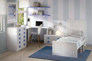 Juvenil Lacado Tagar. Dormitorio Juvenil Lacado con Doble Enmarcado y Cuadros. Muebles Díaz