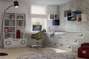Juvenil Lacado Tamame. Dormitorio Juvenil Lacado con Doble Enmarcado. Muebles Díaz