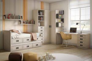 Juvenil Lacado Tapio. Dormitorio Juvenil Lacado con Doble Enmarcado. Muebles Díaz