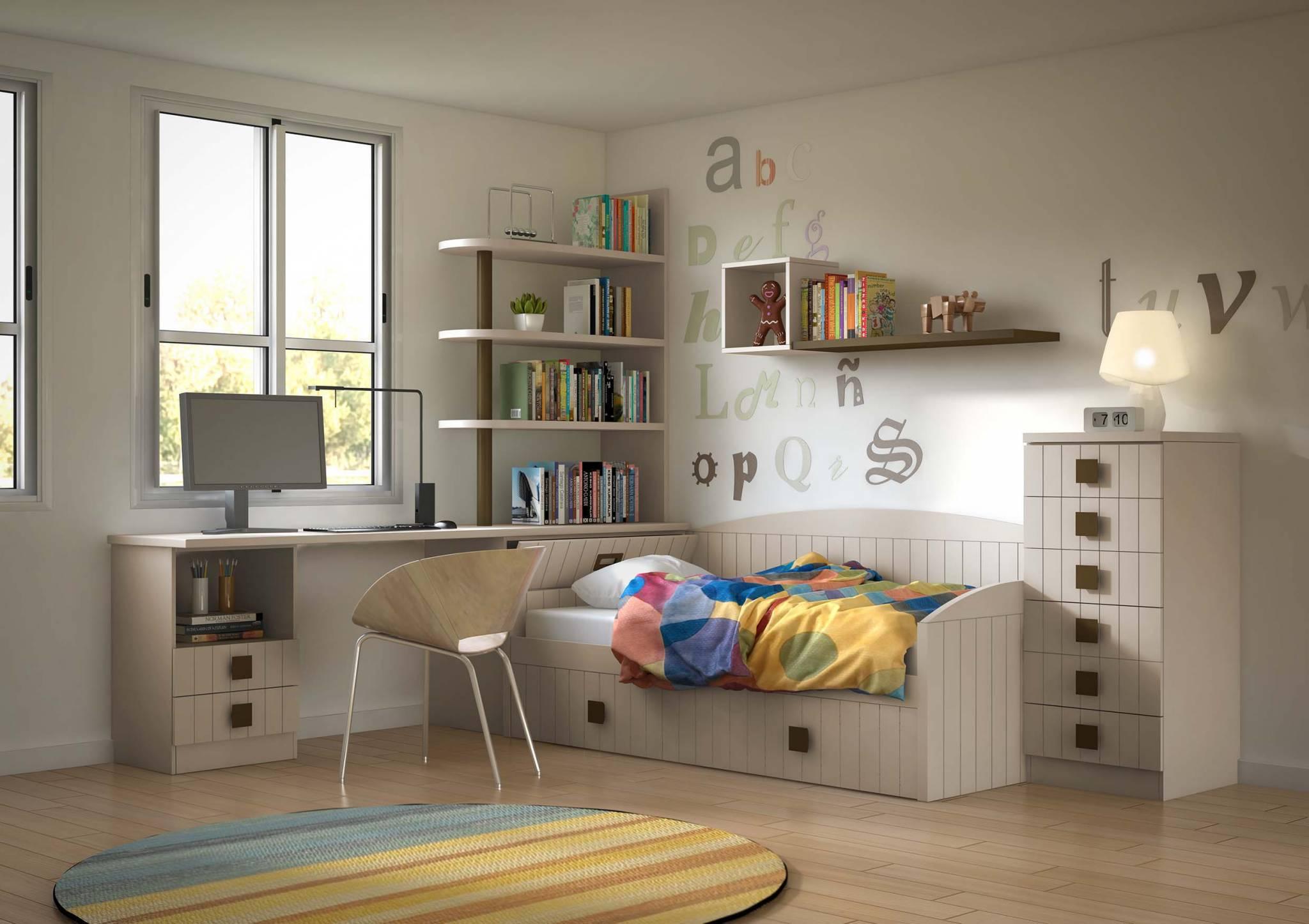 Juvenil Lacado Peñau. Dormitorio Juvenil Lacado Rayas. Muebles Díaz