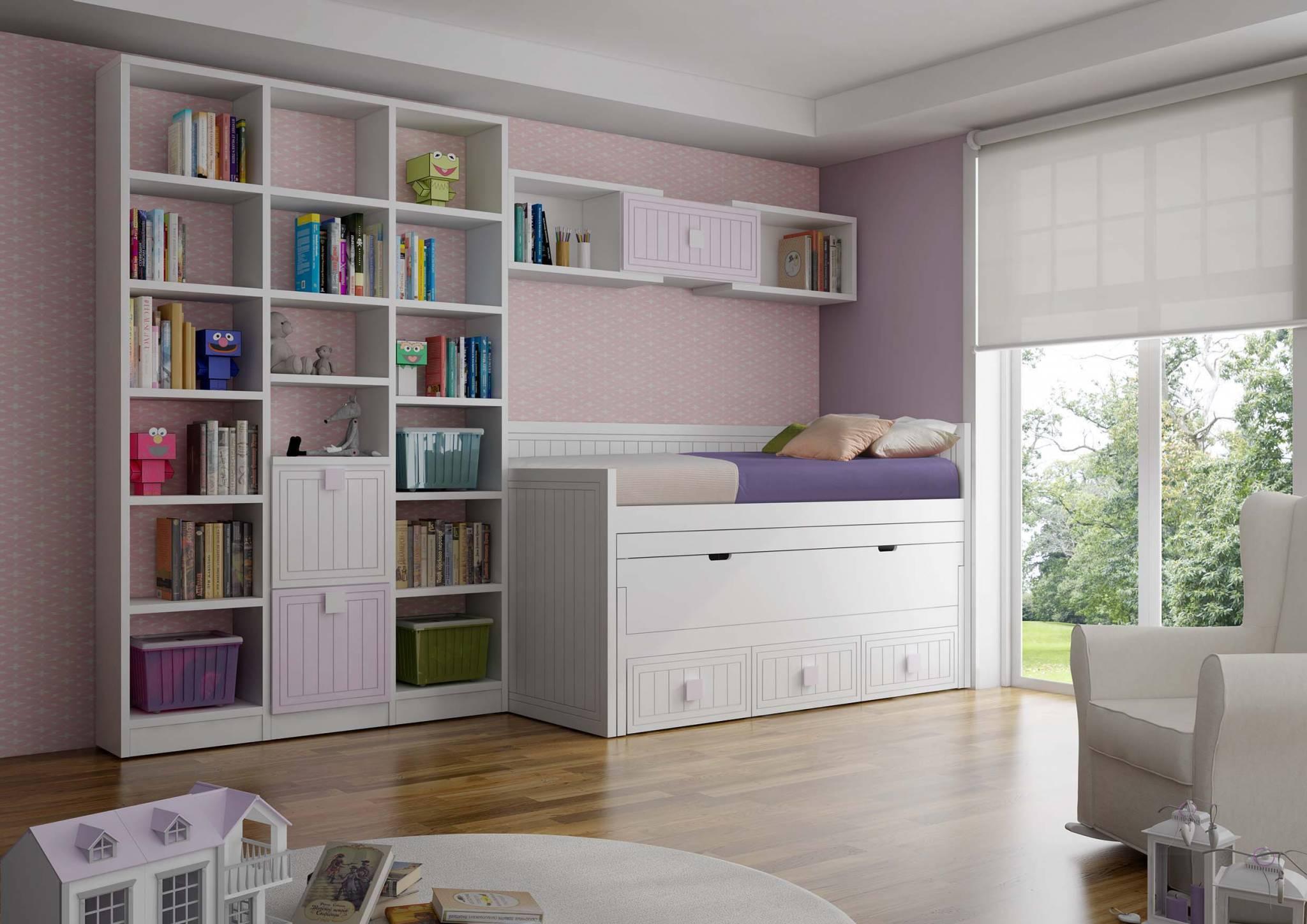 Juvenil Lacado Belver. Dormitorio Juvenil Lacado Compacto en Mesa Escritorio. Muebles Díaz
