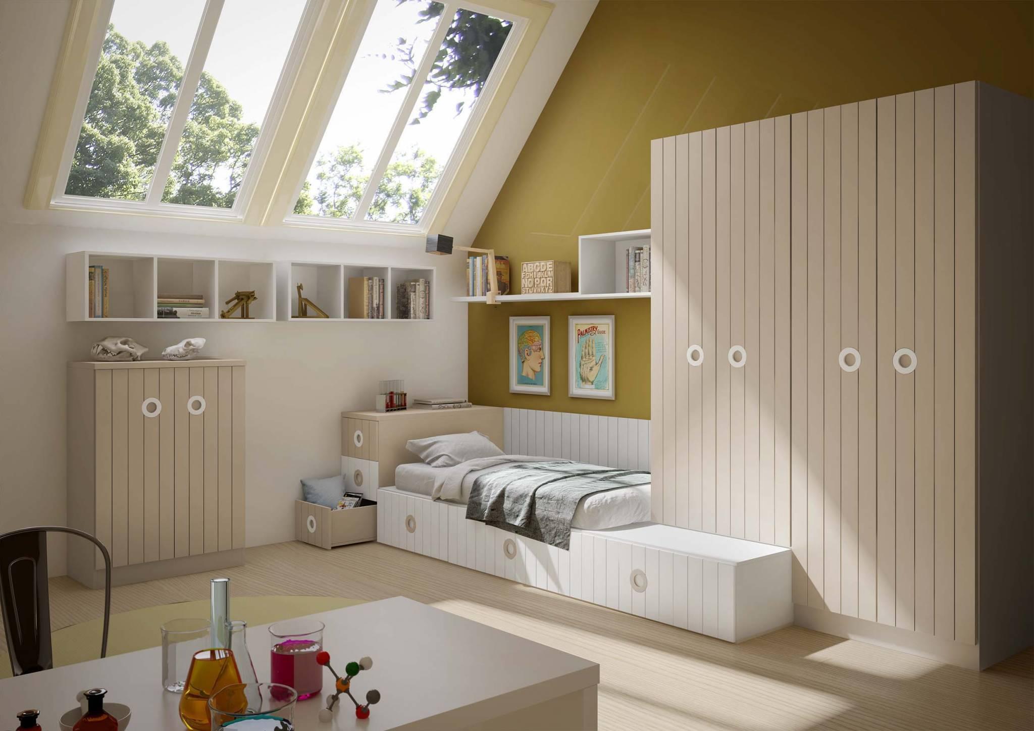 Juvenil Lacado Tese. Dormitorio Juvenil  Tatami Lacado. Muebles Díaz