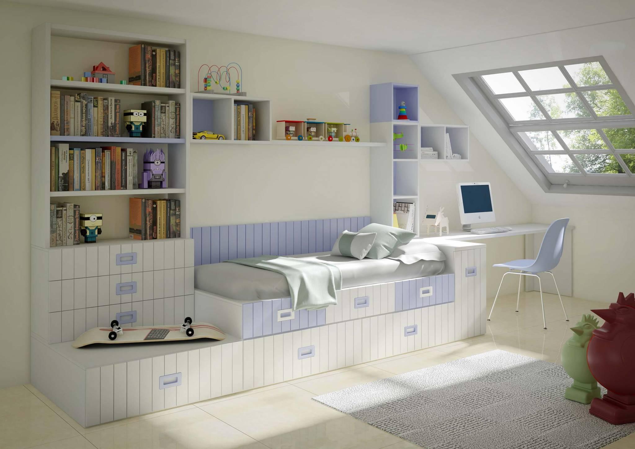 Juvenil Lacado Bercian. Dormitorio Juvenil  Tatami Lacado. Muebles Díaz