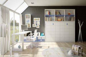 Cama Abatible Lacada Toli. Cama Horizontal Abatible Lacada con  Somir de 135 x 190 cm. con Estanteria. Muebles Díaz