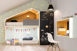 Dormitorio Infantil Palen. Dormitorio Infantil con Forma Casa. Muebles Díaz