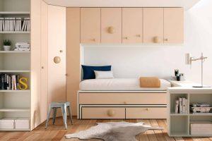 Dormitorio Juvenil Saturno. Dormitorio Moderno Juvenil con Puente Suspendido. Muebles Díaz