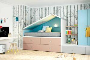 Dormitorio Infantil Planeta. Dormitorio Infantil con Forma Casa. Muebles Díaz