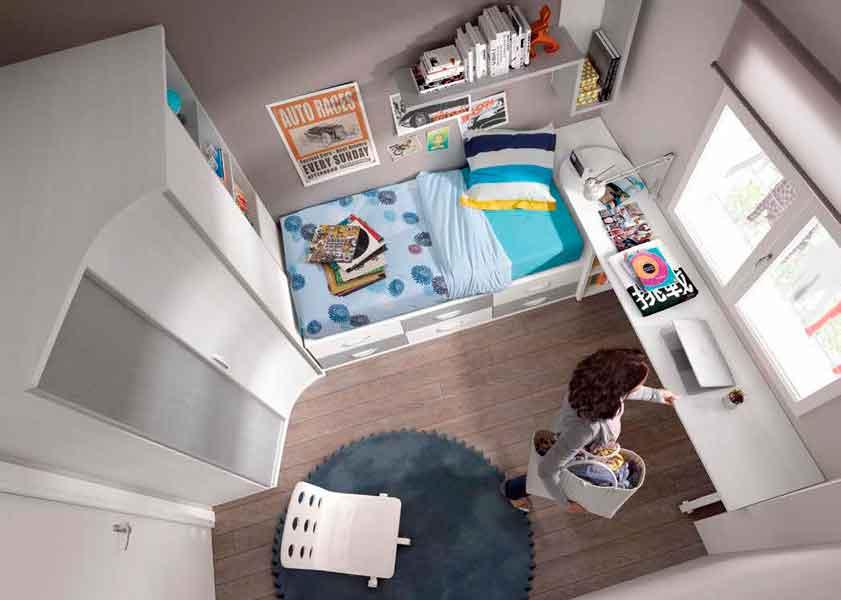 Dormitorio Juvenil Acuarius. Juvenil con Armario Rincón y Mesa Giratoria. Muebles Díaz