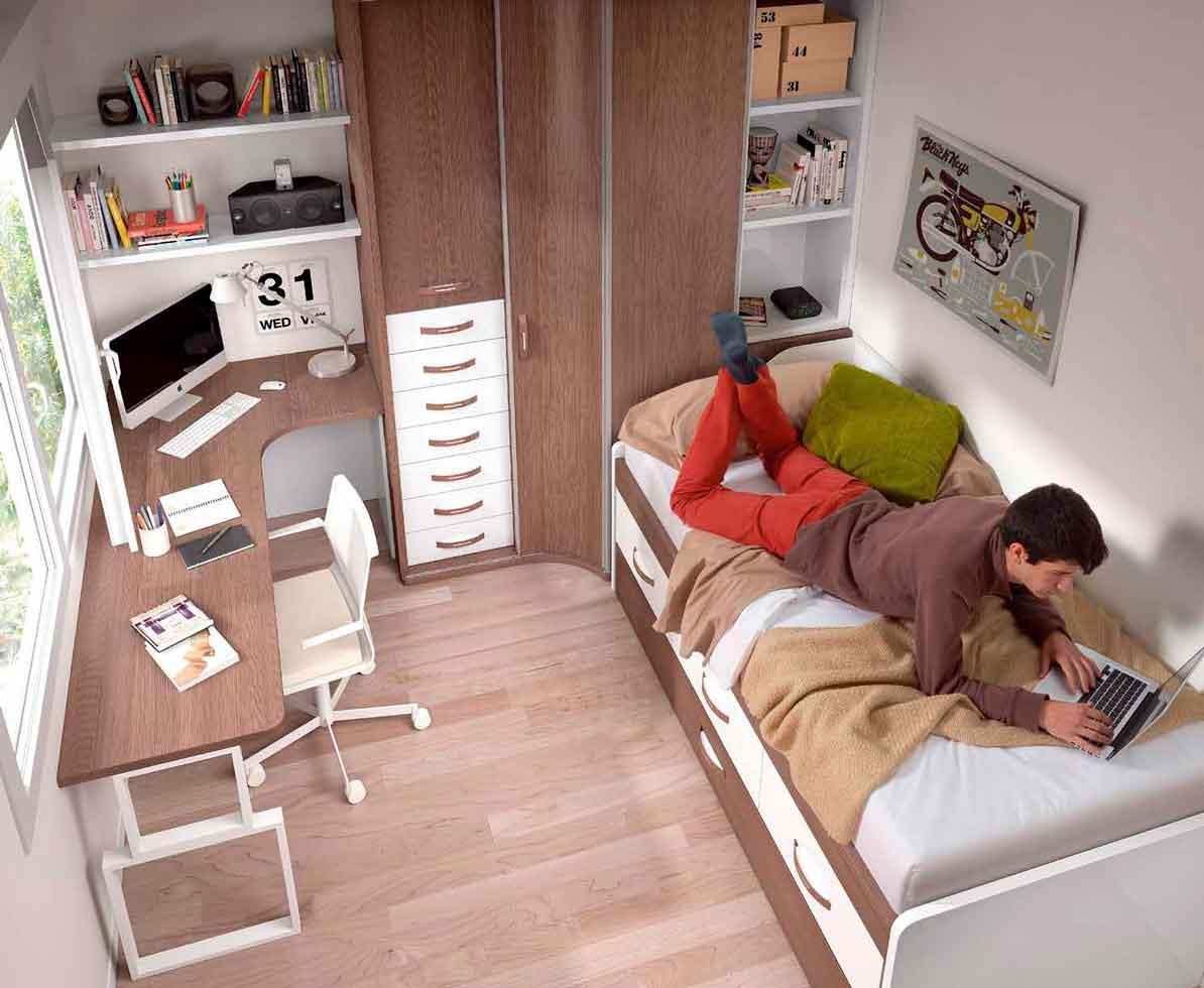 Dormitorio Juvenil Caelum. Juvenil con Armario Rincón y Mesa Estudio Rincón. Muebles Díaz