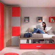 Dormitorio Juvenil Canis. Juvenil con Compacto Cajones y Librería . Muebles Díaz