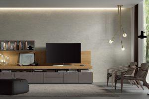 Apilable Moderno Salón Moderno Color Roble y Cuero. Muebles Díaz