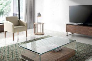 Mesa Centro Mesa Centro Diseño Tapa de Cristal Curvado. Muebles Díaz