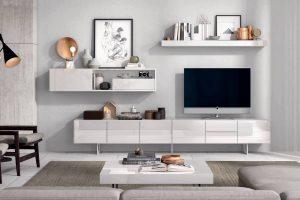 Apilable lacado Brillo Tibo B Salón Diseño lacado en Blanco Brillo Muebles Díaz