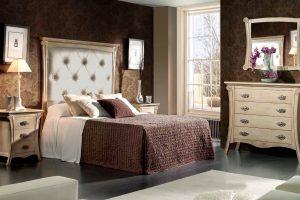 Dormitorio Clásico Versal. Dormitorio Clásico con Formas y Cabezal Tapizado. Muebles Díaz