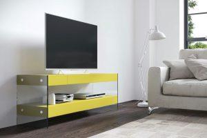 Mesa TV Modelo Aura. Mesa de TV  Moderna con Patas Cristal. Muebles Díaz