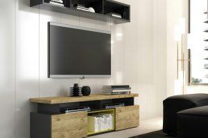 Mesa TV Modelo Chan. Mesa de TV  Moderna con Puertas y Huecos. Muebles Díaz