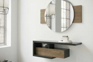 Recibidor Modelo Calatrava. Conjunto Recibidor Moderno con Espejo  y consola suspendida. Muebles Díaz