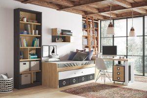 Dormitorio juvenil Nativ A Dormitorio juvenil compacto y librería con separadores. Muebles Díaz