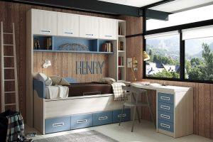 Dormitorio juvenil Nativ B Dormitorio juvenil con puente y compacto canapé. Muebles Díaz