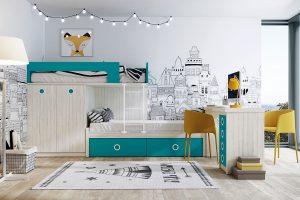 Dormitorio Tren  Nativa H Dormitorio juvenil con camas tipo tren. Muebles Díaz