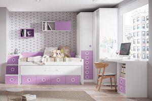 Dormitorio juvenil Nativ L Dormitorio juvenil con armario rincón de puertas corredera y compacto. Muebles Díaz