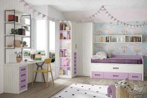 Dormitorio juvenil Nativ M Dormitorio juvenil con armario rincón puertas corredera y compacto arcón. Muebles Díaz