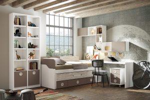 Dormitorio juvenil Nativ N Dormitorio juvenil compacto, mesa y estanterías. Muebles Díaz
