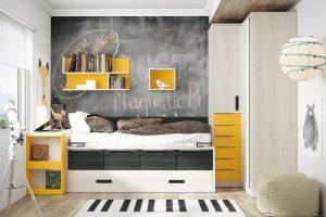 Dormitorio juvenil Nativ Ñ Dormitorio juvenil compacto, armario de rincón y mesa extensible. Muebles Díaz