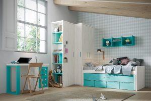 Dormitorio juvenil Nativ O Dormitorio juvenil compacto,  con armario de rincón de gran capacidad y mesa. Muebles Díaz