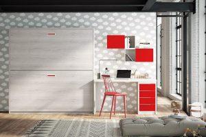 Dormitorio juvenil Nativ A2 Dormitorio juvenil con literas abatibles y mesa estudio. Muebles Díaz