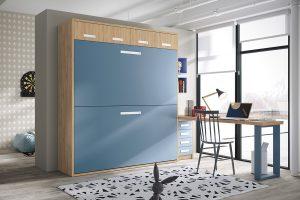 Dormitorio juvenil Nativ A10 Dormitorio juvenil de literas abatibles horizontales con maletero y mesa estudio. Muebles Díaz